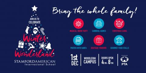 The promotional banner for SAIS Winter Wonderland 2018