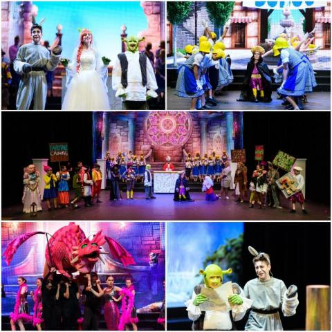 A collage of pictures from Shrek the Musical produced by SAIS Middle School students