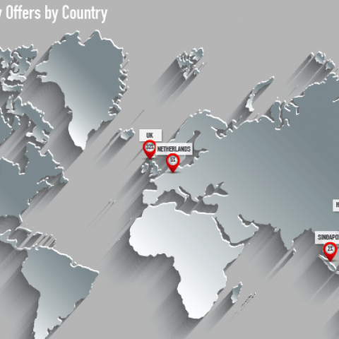 A map detailing the geographical locations of university offers received by SAIS students